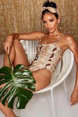 boohoo Ring Detail Belted Snake Swimsuit