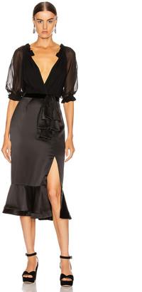 Saloni Holiday Olivia Dress in Black   FWRD