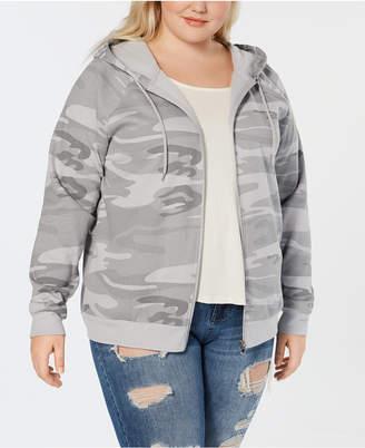 Hybrid Plus Size Camo-Print Zip-Up Hoodie