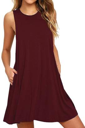 Hunter Bestisun Women's Fall Swing Loose Short Sleeve Tshirt Fit Comfy Casual Flowy Tunic Cotton Dress Swing Sundress Pait witha a Belt Looks Cute Solid Color Red
