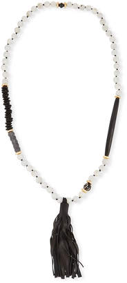 Neiman Marcus Akola Long Paper Moonstone Beaded Necklace with Leather Tassel
