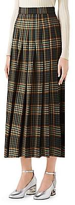 Gucci Women's Wool Tartan Midi Skirt
