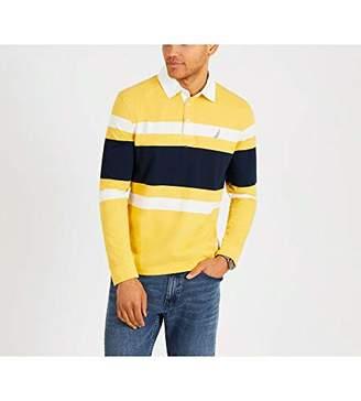Nautica Men's Striped Heavy Weight Jersey Long Sleeve Polo Shirt