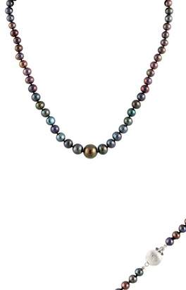 Splendid Pearls 8-15mm Graduated Black Freshwater Pearl Necklace