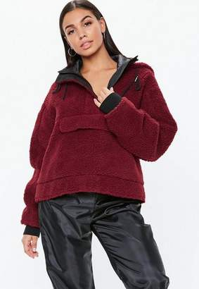 Missguided Red Cropped Overhead Borg Teddy Jacket