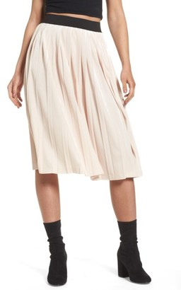 Women's Leith High Waist Velour Pleat Midi Skirt $65 thestylecure.com