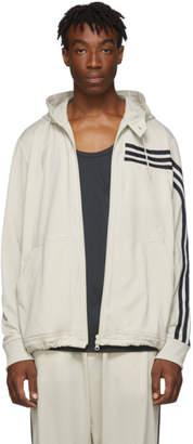 Y-3 Y 3 Beige 3-Stripes Hooded Track Jacket