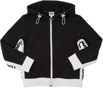 Karl Lagerfeld Logo Zip-Up Cotton Sweatshirt Hoodie