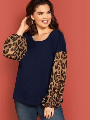 Shein Plus Contrast Leopard Bishop Sleeve Top