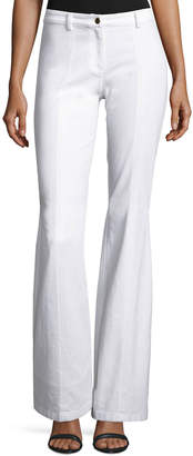 Michael Kors Denim Flare-Leg Pants, White