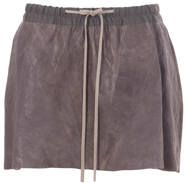 RICK OWENS - Leather drawstring mini skirt