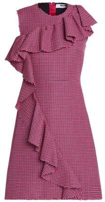 MSGM Ruffle-Trimmed Houndstooth Wool Dress