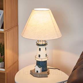 Blaugestreifte Leuchtturm-Tischleuchte Piet