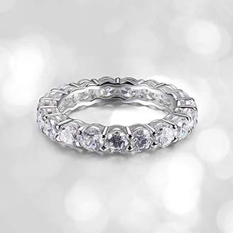 Platinum Plated Sterling Silver Cubic Zirconia Eternity Band Ring