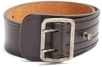 Saint Laurent Wide Leather Belt - Womens - Black