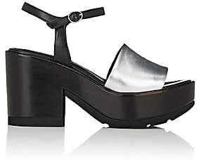 Barneys New York Women's Colorblocked Leather Ankle-Strap Platform Sandals-Silver