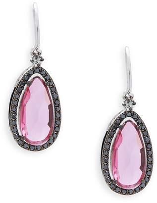Suzanne Kalan Women's Pink Topaz, Black Diamonds & 14K White Gold Drop Earrings
