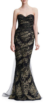 Marchesa Sweetheart-Neck Damask Metallic Brocade Mermaid Evening Gown w/ Tulle Overlay