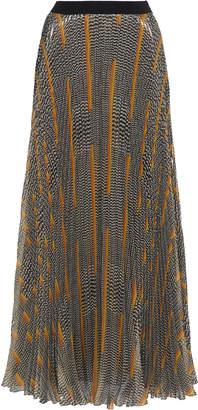 Giambattista Valli Printed Metallic Silk Chiffon Maxi Skirt