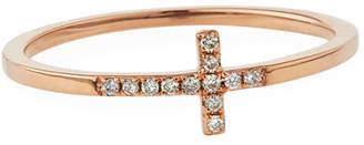 Sydney Evan 14k Gold Pave Diamond Cross Ring
