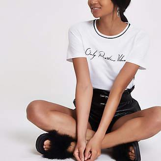 River Island White 'positive vibes' trim T-shirt