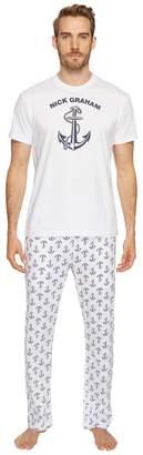 Nick Graham Anchors Away Short Sleeve Lounge Set Men's Pajama Sets