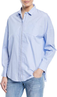 Brunello Cucinelli Collared Button-Front Chambray Shirt with Monili Placket