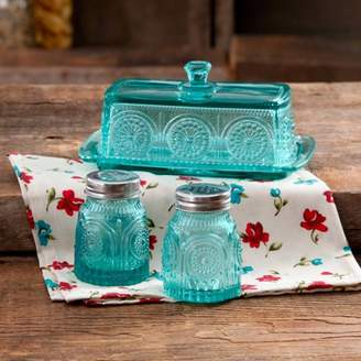 Butter Shoes THE PIONEER WOMAN The Pioneer Woman Adeline Glass Dish with Salt And Pepper Shaker Set