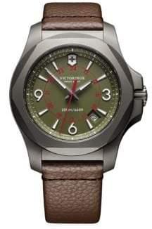Victorinox (ビクトリノックス) - Victorinox Swiss Army Victorinox Swiss Army I.N.O.X. Titanium Leather-Strap Watch - Olive