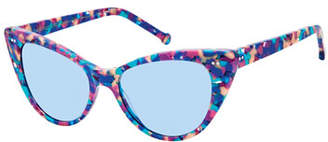 Colors In Optics Audrey Marbled Cat-Eye Sunglasses, Multi Marble