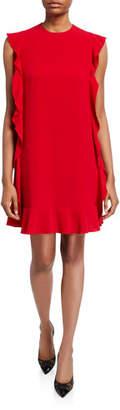 RED Valentino Sleeveless Fluid Crepe Side-Ruffle Short Dress