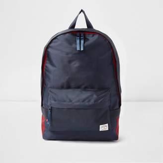 River Island Mens Navy front pocket backpack