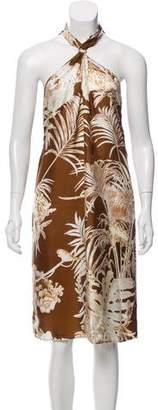 Salvatore Ferragamo Silk Leaf Print Dress