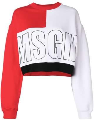 MSGM colour block logo sweatshirt
