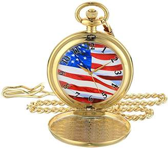 EWatchFactory Men's 'EW Flag Pkt' Quartz Metal Pocket Watch