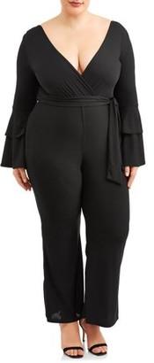 Ella Samani Women's Plus Size Tiered Ruffle Sleeve Jumpsuit