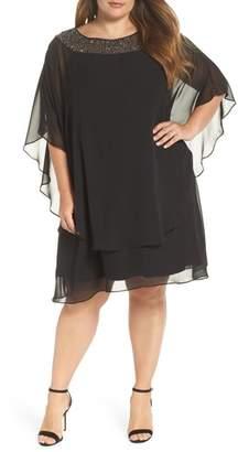 Xscape Evenings Beaded Neck Chiffon Overlay Dress
