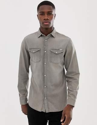 Jack and Jones slim fit denim shirt in gray wash