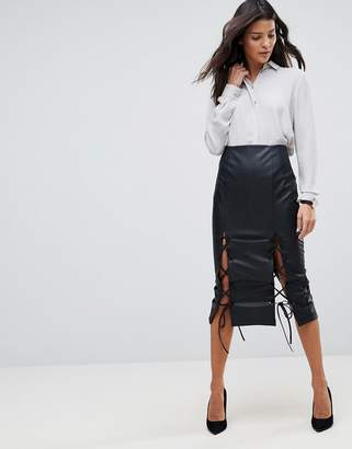 Asos DESIGN Leather Look Pencil Skirt with Lace Hem Detail