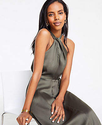 Ann Taylor Petite Knotted Halter Maxi Dress