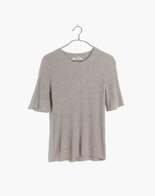 Madewell Flounce-Sleeve Ribbed Sweater Top