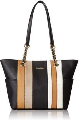 Calvin Klein Key Item Chain Saffiano Tote Tote Bag, MTLC TPE COMBO