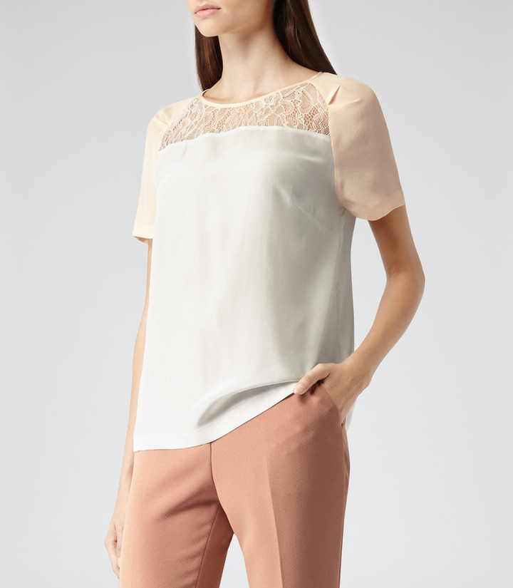 Reiss Mo LACE DETAIL SILK TOP