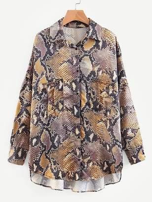 Shein Snakeskin Print Drop Shoulder High Low Shirt