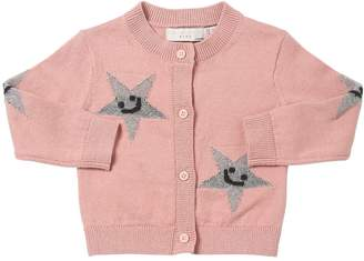 Stella McCartney Lurex Stars Intarsia Cotton Knit Sweater
