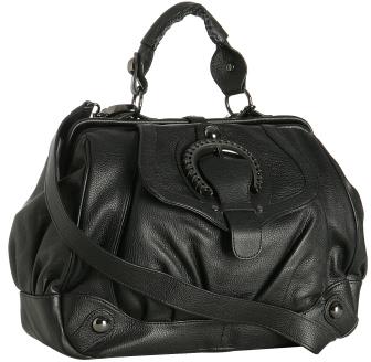 Hype black pebble leather 'Costa del Sol' satchel