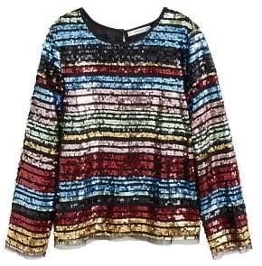 MANGO Multicolor striped sequins top