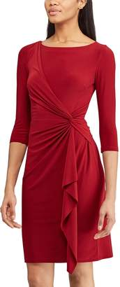 cd51bbd9c9 Chaps Women s Knot-Front Ruffle Sheath Dress