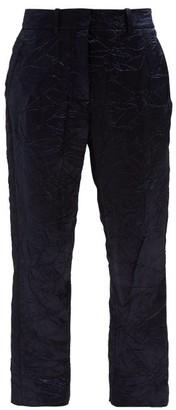 Sies Marjan Willa Crinkled Satin Straight Leg Trousers - Womens - Navy