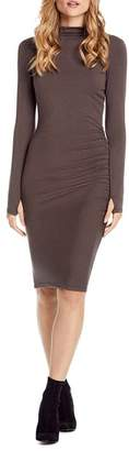 Michael Stars Shirred Mock Neck Dress